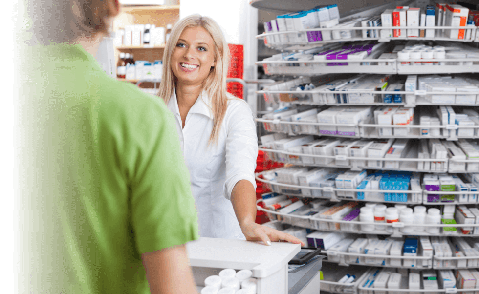a pharmacist entertaining customer