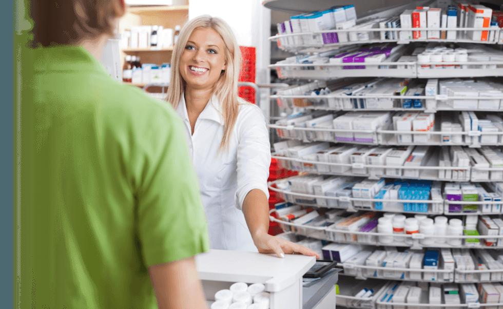 a pharmacist entertaining customer